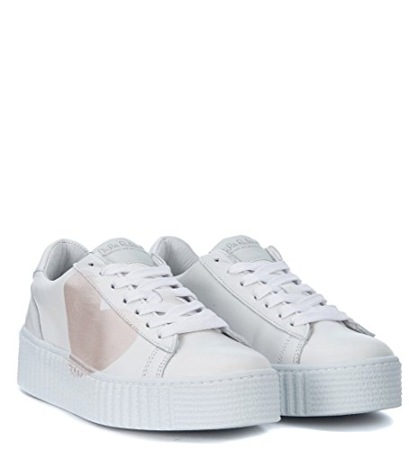 Nira Rubens Sneaker Cosmopolitan in Pelle Bianca con Cuore Rosa Perla Bianco