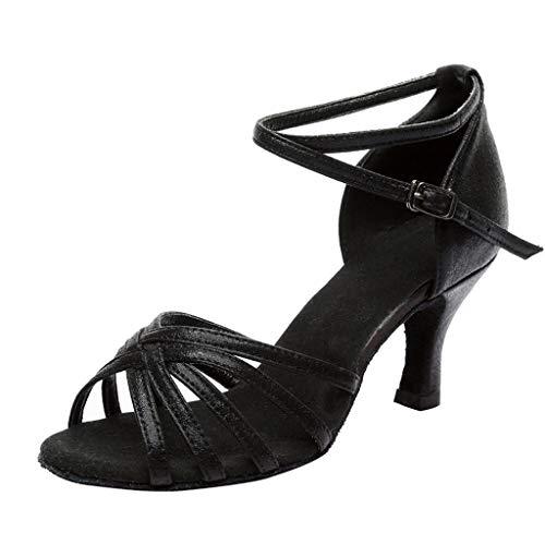 QUICKLYLY Zapatos Tacón Alto/Plataforma/Abiertos Mujer Tacones Altos Fiesta Sexy, Baile Moda Rumba Waltz Prom Ballroom Salsa Latina Bailarinas(Negro,39CN)