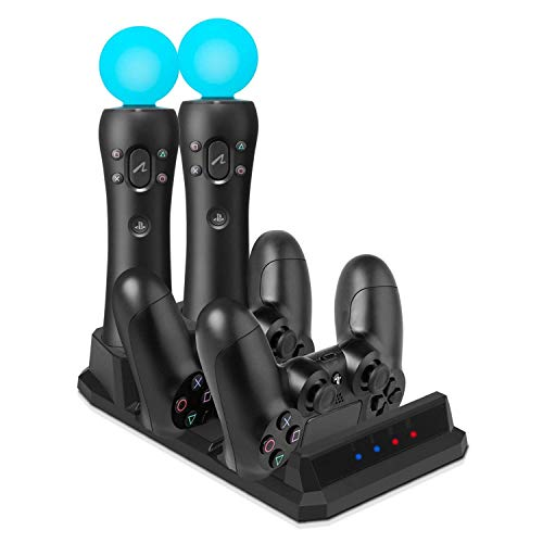 EEEKit-Ladestation für Zwei PS4 / PSVR/Move-Motion-Controller, 4-in-1-Ladestation für Desk Station Ladestation für Playstation PS4 PSVR VR Move
