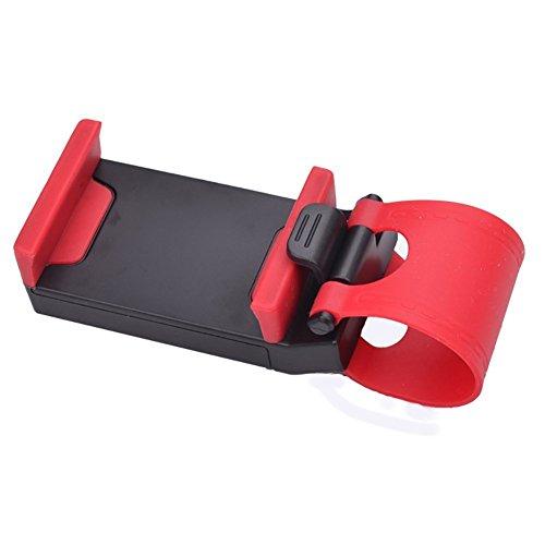 Yunshangauto® Titolare Telefono Cellulare Multifunzionale / Supporto / Clip / Fibbia mani presa libera sul volante dell'automobile, Rosso