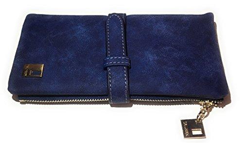 Geldbörse Damen Vintage Style Wildleder (Blau) (Geldbörse Wildleder Damen)