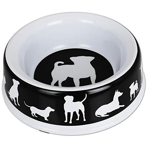 TW24 Hundenapf Melamin1500ml mit Farbwahl Hundefutternapf Kunststoff Futternapf Hund Rutschfest Fressnapf (schwarz) -