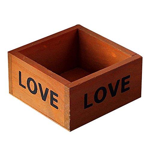 Wansan 9.8 * 9.8 * 5CM cuboïde Pot de Fleur Love Lettrage/Plateau en Bambou/Pots de Cactus/Plante en Pot/cultiver en Bois Khaki