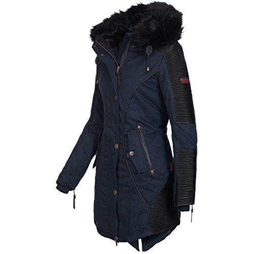 Marikoo LARISSA Damen Jacke Parka Mantel Winterjacke warm gefüttert 4 Farben Navy