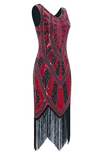 Metme der 1920er Jahre Vintage inspirierte Fransen verziert Gatsby Flapper Midi Kleid Abschlussball Partei Schwarz + Rot