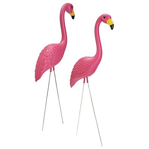 Gaeruite 2Pcs rosa Flamingo Kunststoff-Partyornamente / Flamingo Rasen Ornamente / Tinte Flamingo Garten Hof Stakes Art Decor (Hof Rosa Flamingos)