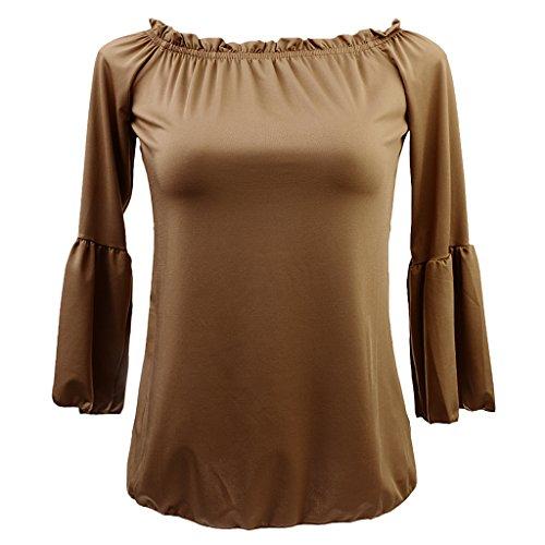 Sharplace Donna Pieghe Camicetta Aderente Top Magliette T-shirt Manica Lunga da Estate Marrone