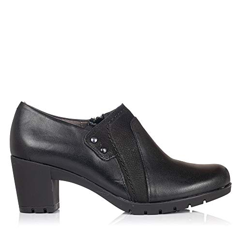 PITILLOS 3961 Zapato Abotinado Piel Tacon Mujer Negro