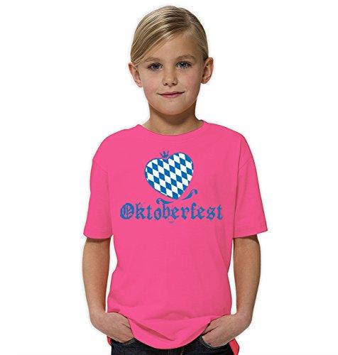 Kinder Mädchen kurzarm Trachten T-Shirt Girlie Shirt Outfit zum Volksfest Wiesn Oktoberfest :-: Geburtstagsgeschenk Kids Kinder :-: Geschenkidee Teenager :-: Farbe: rosa Gr: 134/140