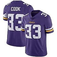 Rugby Jersey de la Mujer, el Cocinero # 33 de Minnesota Vikings Equipo, Tech Transpirable de algodón Camiseta del Jersey, Grandes Muchachos Pro Rugby Traje (Color : Purple, Size : XXL)