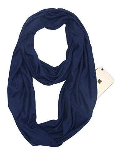 Century Star Damen winter herbst unendlichkeit taschen-schal mode stretchy schale mit reißverschluss-tasche für reisen 07 einheitsgröße z marineblau (Damen Winter Unendlichkeit Schal)