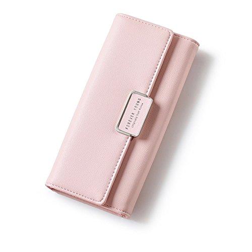 Geldbörse Damen IHRKleid® Elegant Leder Geldbeutel Süß Portemonnaie (Rosa)