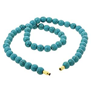 Gemstone Necklace Turquoise Jewellery Indian Treated Bead 10MM 18 Inch