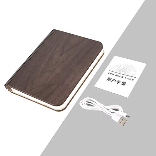 FDBF LED Wooden Book Light Creative Foldable Night Lamp USB Rechargeable Magnetic
