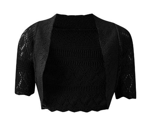 Damen Kurzarm Strick Bolero Größen 8–12, schwarz