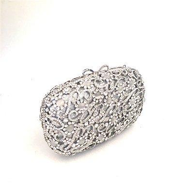 Heart&M Damen Unterarmtasche PU Metall Ganzjährig Hochzeit Veranstaltung Fest Formal Kristall Metallkette Magnetisch Silber Silver
