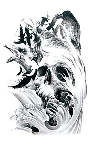 EROSPA® Tattoo-Bogen temporär- Totenkopf Rabe Krähe Wasser Wellen Schädel