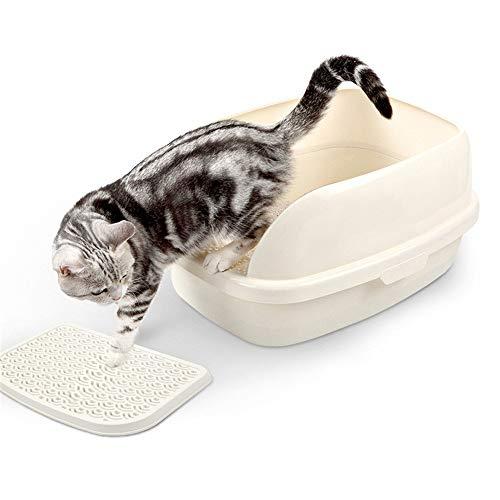 Katzentoilette mit Rand, Robuste Katzentoilette mit hohem Mit dem Fußpedal und Geschenk Streuschaufeln Abnehmbarem Rand für Eine Hygienische Reinigung für Kleine und Mittlere Katzen,Weiß,S