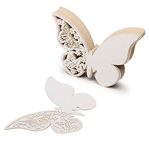 JZK® 50 Stück 3D Schmetterlinge Weiß Tischkarten Platzkarten Namenskarten Perlglanz-Karte Hochzeit Party Cup Deko Tabellenname für festliche Anlässe