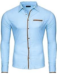 7f2cb164095f Reslad Herren Hemd Patched Leinen Look Leichtes Sommerhemd RS-7214