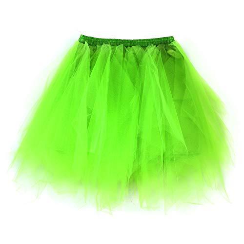 Andouy Damen Tutu Rock Tüll Mix Bunte Petticoat Ballett Tanz Organza Geschichteten Kostüm Dress-up sexy Größe 36-46(36-46,Fluoreszenz ()