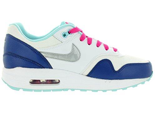 Nike Unisex Air Max 1 (gs) Schuhe Bianco-metallico Argento-rosa Vivido (653653-100)