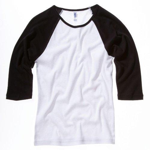 Bella Canvas Baby Rib 3/4 Sleeve Raglan Contrast T-Shirt Weiß/Schwarz M -