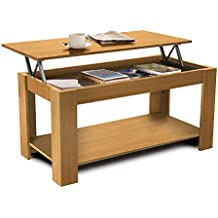HOMFA Mesa de café Mesa de centro elevable con revistero para comedor 100*50*50cm Tablero de partículas (Color de roble)