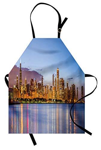 Abakuhaus Illinois Kochschürze, Malerische Chicago-Stadt von Lake Michigan Reflections USA Nacht Amerikaner, Farbfest Höhenverstellbar Waschbar Klarer Digitaldruck, Ceil Blau Aprikose
