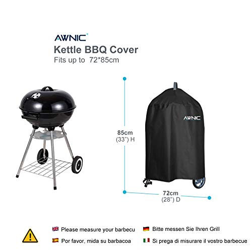 41PgEhid4hL. SS500  - AWNIC Barbecue Cover Kettle BBQ Cover Round Charcoal Barbecue Cover Waterproof Heavy Duty 420D Oxford Fabric for 22'' to 26'' Weber Landmann Kettle Grill Ø72*85cm