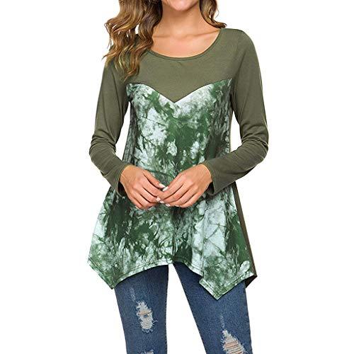 Luotuo Langarmshirts Mode Rundhalsausschnitt Lange Ärmel Drucken Lose T-Shirt Tunika Top Herbst und Winter Casual Lange Oberteile Bluse