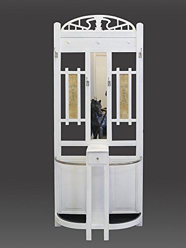 Garderobe Wandgarderobe Flurgarderobe Antik Um 1930 in Weiß B: 85 cm (6736)