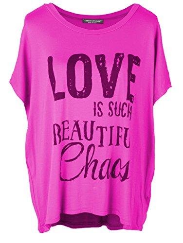 343f0f7e8d823c Emma   Giovanni T-Shirt Oberteile Kurzarm mit Druck Love- Damen (Fuchsie