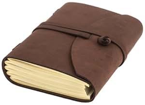 Carnet de notes luxe INDIARY de cuir véritable et papier à la main en cuir A5 -Wild-Brown