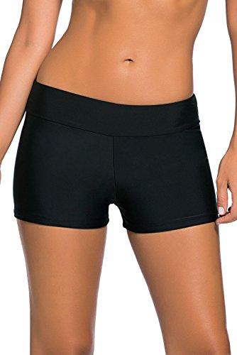 QUEENIE VISCONTI Damen Schwimmhose Boy Shorts Taillenband Boardshorts Badeanzüge Hose, Schwarz Übergröße - schwarz - Large (Passt Mögen 40 DE/42 DE) -
