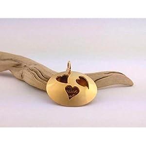 GOLD Herz Medaillionkette mit pe