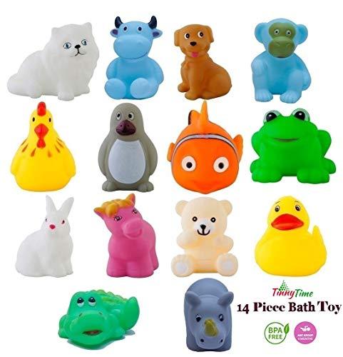 Tinny Time Chu Chu Bath Toys for Baby Non-Toxic Toddler Set Multi Colour (14pcs Bath Toys)