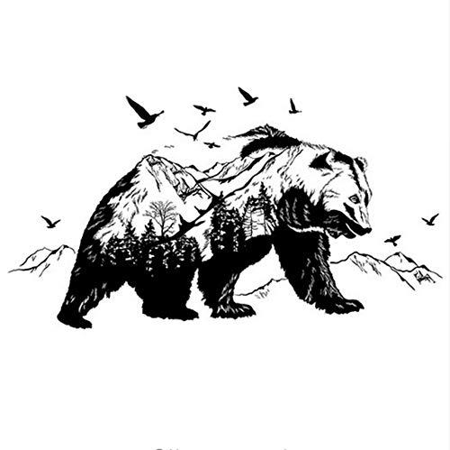 Zybnb 60 * 90 Cm Negro Osos Peces Montaña Etiqueta De La Pared Calcomanías De Arte Diy Decoración Nuevo Diseño De Pared De Vinilo Tatuajes De Vinilo Paredes Murales