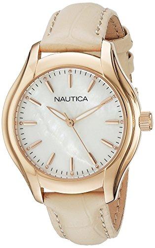 Nautica Women's NAD12000M NCT 18 MID Analog Display Quartz Beige Watch