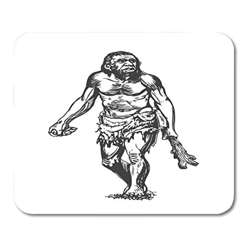 Deglogse Gaming-Mauspad-Matte, Man Homo Neanderthal Club Graphic Sketch Human Origin Age Mouse Pad, Desktop Computers mats