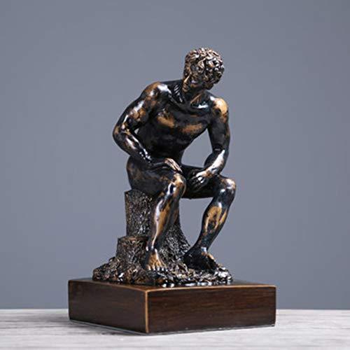 LOVEU Die Denker-Rodin-Statue, Klassische Meditator Skulptur Griechischen Männlichen Harz Figur Mann Dekoration Für Haus Wohnzimmer Büro Schreibtisch a 17x17x30cm(7x7x12inch)