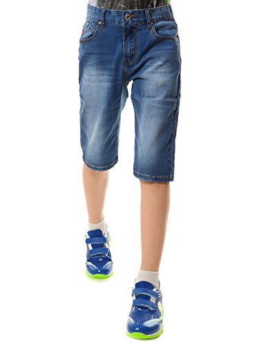 Comfort Capris (Jungen Kurze Hose Capri Jeans 3/4 mit verstellbaren Bund 22131, Größe:140)
