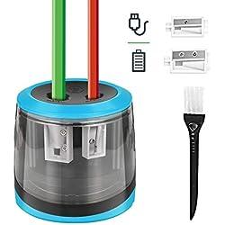 Sacapuntas electrico, Sacapuntas automático pencil sharpener con dos agujeros automÁtico,usb cable recargable,aa pila/no incluido,Perfecto para aula de los niños, Oficina