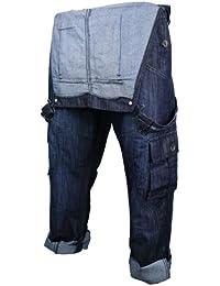 Les hommes occasionnels Salopette Jeans Denim Bleu clair pierre lavage Turn Up