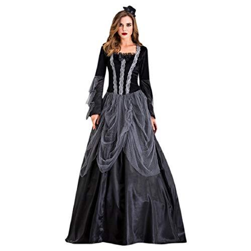 Weiß Kleid Queen Kostüm - Bluelucon Damen Halloween Partykostüm, Court Kleid Queen Earl Kleid Vampire Suit Gothic Langes Kleid Vampir Hexe Kleider Cosplay Hexenkostüm Kostüm