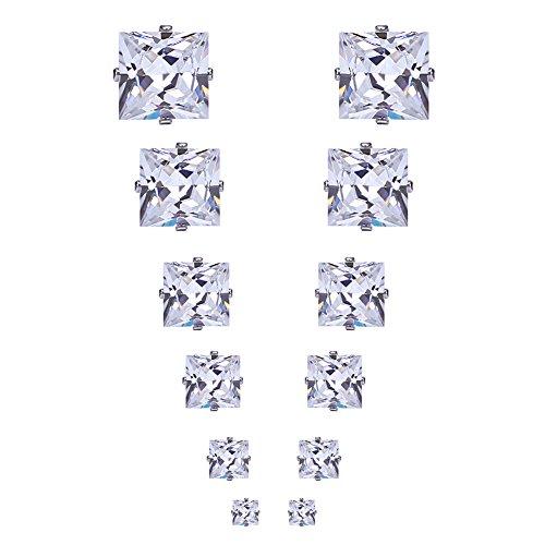 Dekool 6 Paar Ohrring 3mm-8mm Edelstahl Ohrschmuck Zirconia Allergiefrei Silberfarbe Ohrringe Kristallen für Frauen Mode (Runde/Platz/Heart shaped)