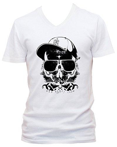 Thug Cooles Party Herren V-Neck T-Shirt Körperbetont, weiss, XXL