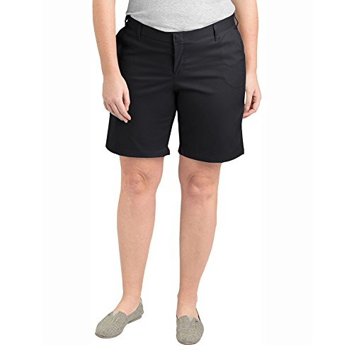 Dickies Women's Plus Size Relaxed Fit 9 Inch Flat Front Short, Black, 20W (Shorts Relaxed Dickie Fit)
