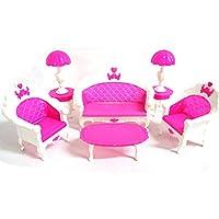 OurKosmos® Moda spogliatoio tavolo e sedia Set Per Barbies bambole Mobili Camera Da Letto (6pcs)