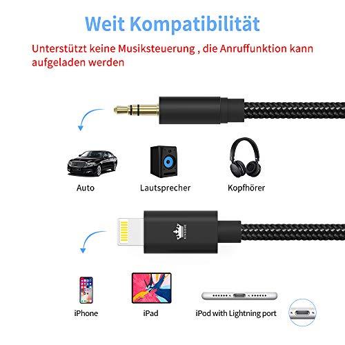 Auto AUX Kabel für iPhone, Kingone 3.5mm Aux Kabel auf iPhone 7/8 / X / 8 Plus/XS MAX/XR zum Autoradio/Lautsprecher/Kopfhörer-Adapter【Nylon geflochten, 3.3ft】 - 3